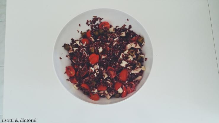 riso rosso integrale sgombro perini olive toma